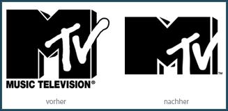 MTV Logo vorher - nachher