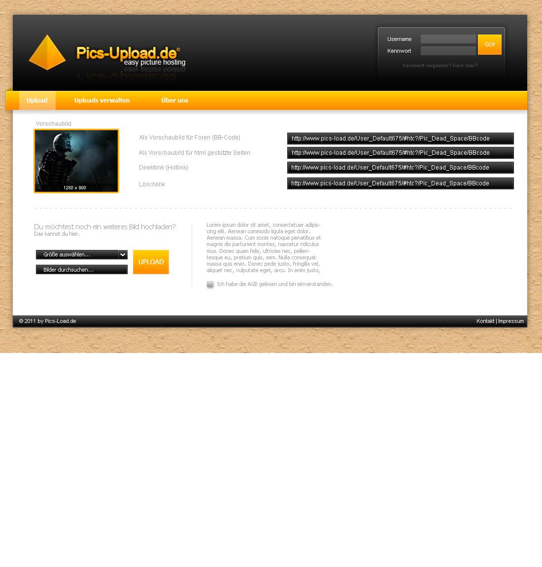 Pics-Upload Interface
